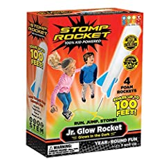Jr. Glow Stomp Rockets glow-in-the-dark, so they stand out against a dark sky! 100% KID powered: Run, jump and STOMP to launch these rockets up to 100 feet in the air! All-foam rockets are great for younger kids — ages 3 and up and a solo play game I...