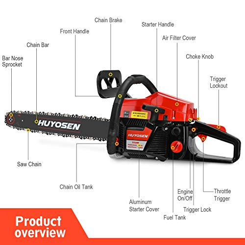 HUYOSEN 54.6CC 2-Stroke Gas Powered Chainsaw, 20-Inch Chainsaw, Cordless Handheld Gasoline Power Chain Saws for Cutting Trees, Wood, Garden and Farm(5520E Black Red).