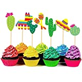 56 Pieces Mexican Fiesta Cupcake Toppers, Cake...