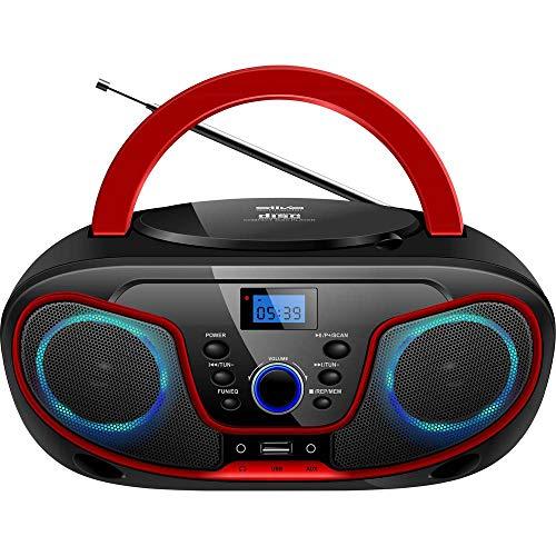 Silva-Schneider MPC 19.4 UKW Radio mit CD-Player, AUX, USB, Schwarz/Rot
