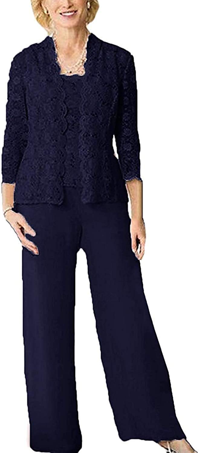 DIKN Women's Lace 3Piece Mother of The Bride Dress Pant Suit with Long Sleeve Jacket