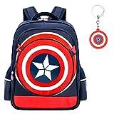 Waterproof Captain America 3D Bag Backpack Comic Super Hero Design backpacks bags For gift(dark blue-L)