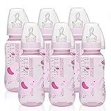 NIP PP Flasche Girl // 6er Set // Standardbabyflasche 250 ml // angenehm weiches PP // kiefergerechter Sauger Silikon mit Anti-Kolik Ventil Größe M (Milch/ab 0 Monate) // inkl. Verschlußplättchen