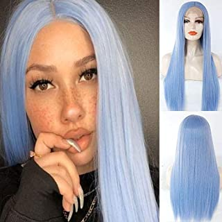 Blue Bird Natural Pastel Blue Hairstyle Long Straight Wigs Heat Resistant Fiber Women Hair Light Blue Synthetic Lace Front Wig