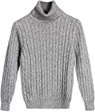 Kid's Turtleneck Sweater, Cashmere Twisted Cable Knit Sweater Pullover for Toddler Little & Big Boys Girls, Grey, 2-3 Years = Tag 100
