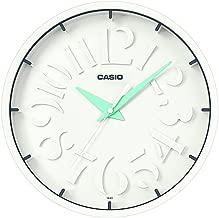 """ساعة حائط انيقة من """"كاسيو"""" انالوج بعقارب لون ابيض IQ-64 (ابيض/أزرق)"""