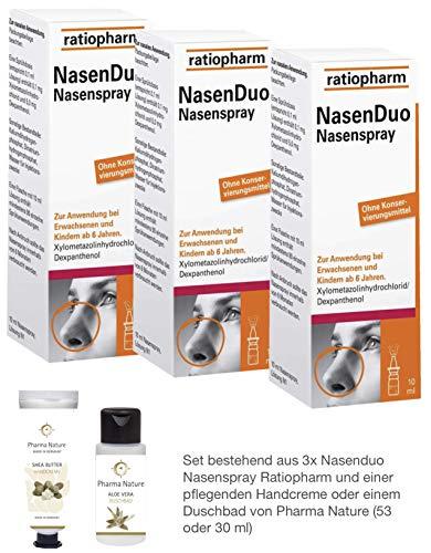 Nasenduo Nasenspray Ratiopharm Sparset 3 x 10 ml inkl. einer pflegenden Handcreme oder einem Duschbad von Pharma Nature
