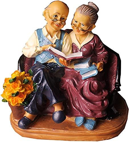 彫刻 置物・オブジェ 祖父母像の装飾樹脂愛好家愛彫刻の工芸品の家の居間の結婚式の装飾ギフト 工芸品の彫刻 (Color : B)