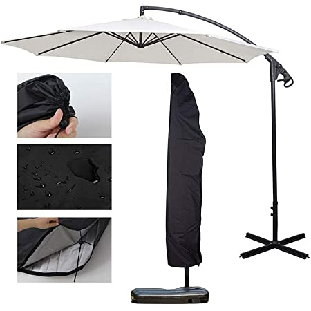 Waterproof Offset Umbrella Cover for Patio Outdoor with Zipper Suits 9ft to 13ft Parasol Umbrellas Sunkorto Cantilever Umbrella Cover