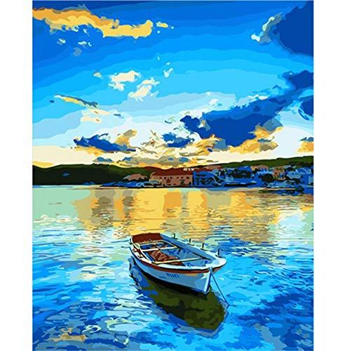 BERYART Ölgemälde zum Selbermachen, mit Acryl-Pigmenten, einzigartiges Geschenk für Kinder, Studenten, Erwachsene und Anfänger, Malen-nach-Zahlen-Set, 40,6 x 50,8 cm(rahmenlos) See unter blauem Himmel