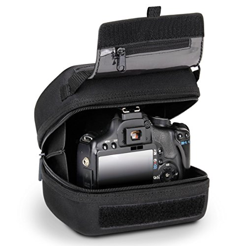 USA GEAR Hard Shell DSLR Camera Case (Black) with Molded EVA Protection, Quick Access Opening,...