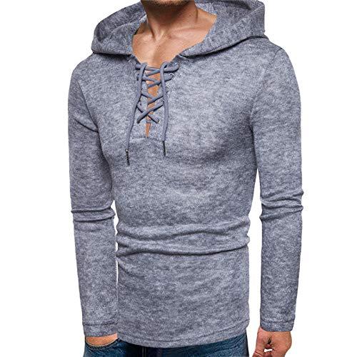 Suéter de los Hombres de Moda de Personalidad con cordón con Capucha Grueso suéter de Punto con Capucha suéter Delgado Ocasional de Manga Larga XL