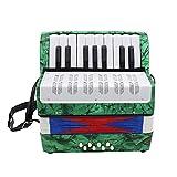 Domilay Instrumento Musical Educativo AcordeóN Profesional de 17 Teclas para Ambos Ni?Os Adulto Verde