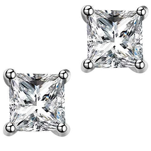 AMBESTEE Women 925 Pure Sterling Sliver Crown Design Square Cut Crystal Cubic Inlay Zirconia Rhinestones Studs Earrings Set