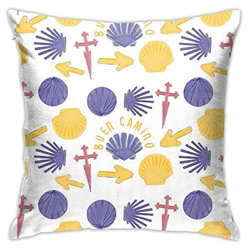 87569dwdsdwd Camino De Santiago White Landpenguin Square Pillow Case Home Sofa Decorative 18