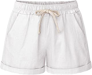 Women's Drawstring Elastic Waist Casual Comfy Cotton Linen Beach Shorts