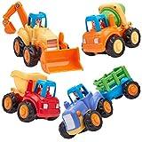 Play Pride Friction Powered Construction Toy Set de 4, Juguetes educativos para nios pequeos y preescolares Juguetes para vehculos con Mezclador de Cemento y Bulldozer de Tractor