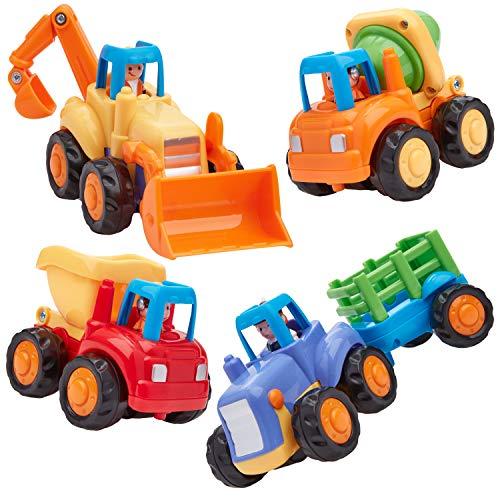 Play Pride Fricción Powered Construcción Juguete Conjunto de 4, Juguetes Educativos para Niños Pequeños y Preescolares Juguetes para Vehículos con Mezclador de Cemento y Bulldozer de Tractor