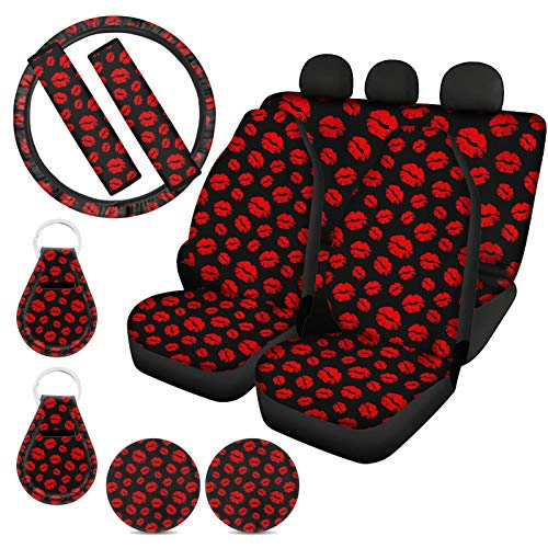 ZFRXIGN Auto Front Rear Seat Covers Sexy Red Kiss Lips Print Car Accessories Set Back Seat Cover Split Bench with Steering Wheel Cover, Coasters, Seat Belt Cover, Keychain,Black Red Valentines Gifts