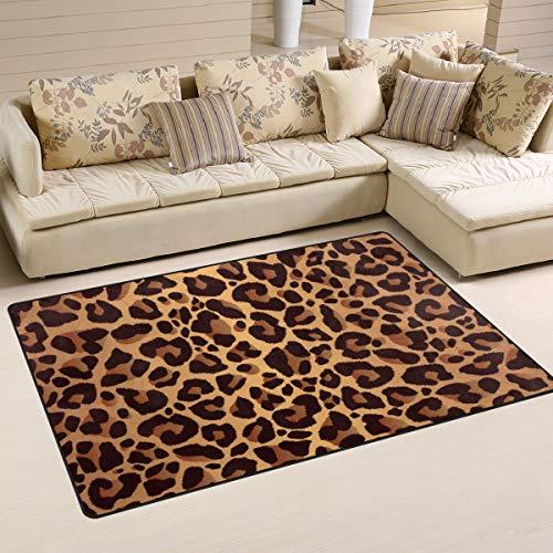 WowPrint Vintage Animal Leopard Print Area Teppich waschbar leicht für Küche Esszimmer Wohnzimmer Schlafzimmer Home Decor 78x50 cm, Multi, 152 x 99 cm