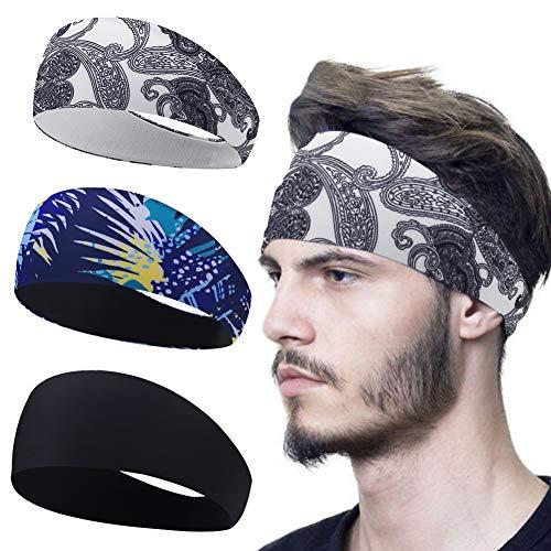 Linlook Sport Stirnband für Herren und Damen - Schweißband Anti Rutsch für Jogging, Laufen, Wandern, Fahrrad- und Motorrad Fahren 3 Pack… (Farbe 4)