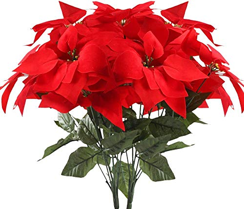 HUAESIN 2pcs Flores Artificiales Navidad Flor Pascua Artificial Poinsettia Falsa Pascuero Ramo Flores Navideñas Rojas para Fiesta Hogar de Año Nuevo Adornos Árbol de Navidad Centro de Mesa 30x50cm