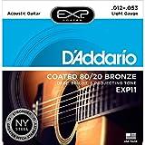 D'Addario EXP11 Coated Acoustic Guitar Strings, 80/20, Light, 12-53