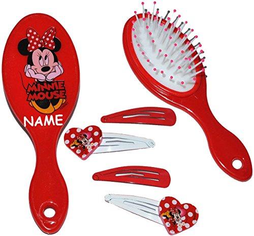 alles-meine.de GmbH Set: Haarbürste + 4 Stück Haarspangen -  Disney Minnie Mouse  - incl. Name - für Mädchen / Kinder - Schmuck Haarschmuck - Blumen rosa Accessoires Haarspange..