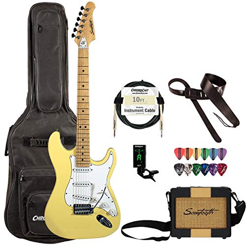 Sawtooth 6 String Electric Guitar Pack, Vanilla Cream, Right Handed (ST-ES-VCW-TRAVEL)