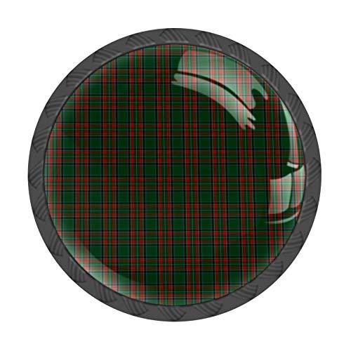 FCZ 4 pomos de cajón con diseño de cuadros verde Stewart con asas de cristal y forma de círculo, con tornillos, para el hogar, la cocina, la oficina