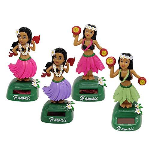 SM SunniMix 4 Stücke Kreative Solar Power Schreibtisch Spielzeug, Tanzen Hula Ass Wackeln Hawaiian Mädchen Figuren, Auto Armaturenbrett Dekorationen Schaukel Dame
