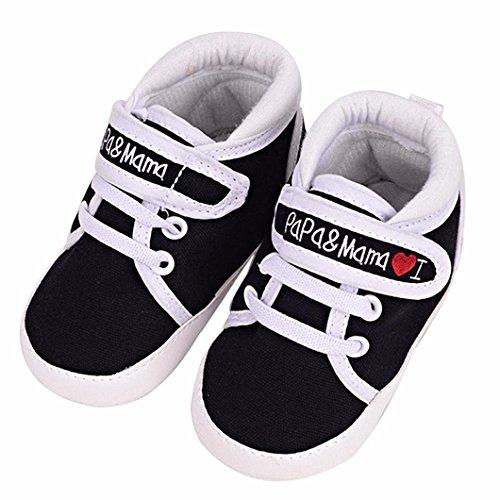 Auxma Niedlich Kind Baby Säugling Junge Mädchen weiche Sohle Kleinkind Schuhe Leinwand Sneak (6-12 Monat, Schwarz)