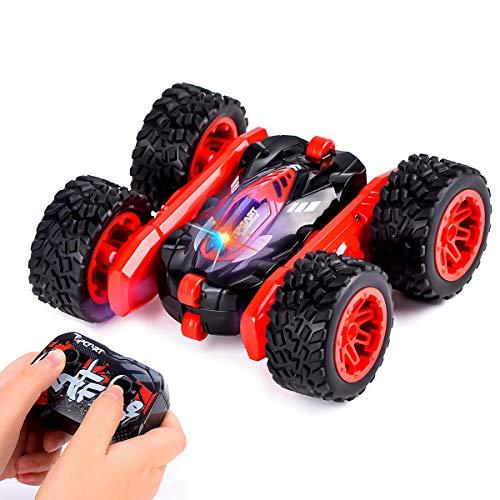 Sundaymot Ferngesteuertes Auto Doppelseitige RC Stunt Auto Rennauto, 2,4 Ghz Fernsteuerung High Speed Spielzeugauto, 360-Grad-Spin und Flip 4WD Buggy Auto, Geschenk für Kinder (Rot)
