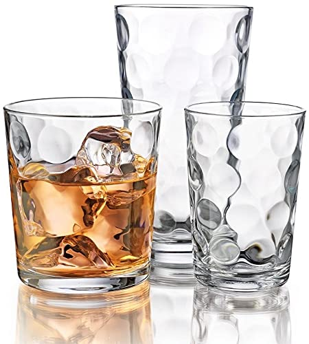 Drinking Glasses, 12 Piece Glass Cups Set. Includes 4 Highball Glasses(17 oz.) 4 Rocks Glasses(13...