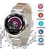 Fitness Tracker pour Femme H2 Montre Connectée Bracelet Connecté Podomètre Cardio Moniteur de Sommeil Fréquence Cardiaque Pression Artérielle Écran IP67 pour Samsung Sony Huawei Android iOS (D'or)