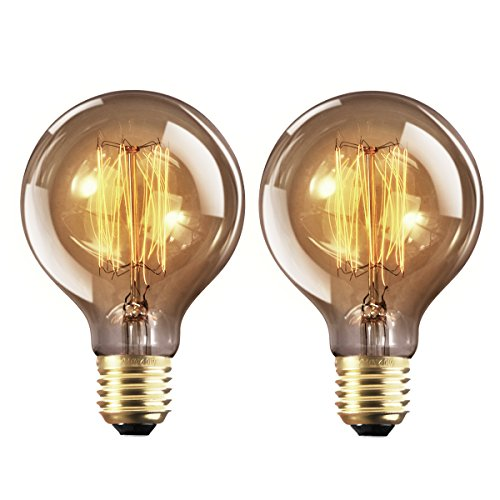 Bombilla E27 Vintage Edison Lamparas Antigua Bombillas Retro Decorativas Regulable Lampara Bulbo Filamento G80 40W Blanco Cálido - 2 Piezas