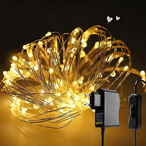 10M LED Lichterkette 100er Warmweiß Kupferdraht Lichterketten mit Schalter, Wasserdichte Gartenlichterketten Plug-In für Party, Hochzeit, Weihnachten, Schlafzimmer, Innen, Außen