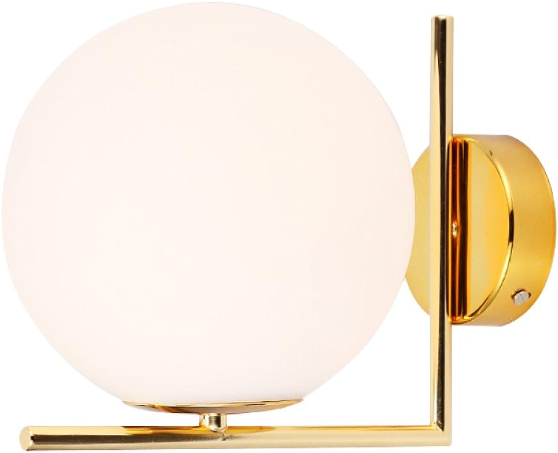 LED-Wandleuchte Modern Einfache Hardware Circular Décor Leuchte Glaskugel Einzelkopf Wand LampE27 Geeignet Für Zuhause Dachboden Flur Nachttisch Wohnzimmer Beleuchtung Wandleuchte 5W