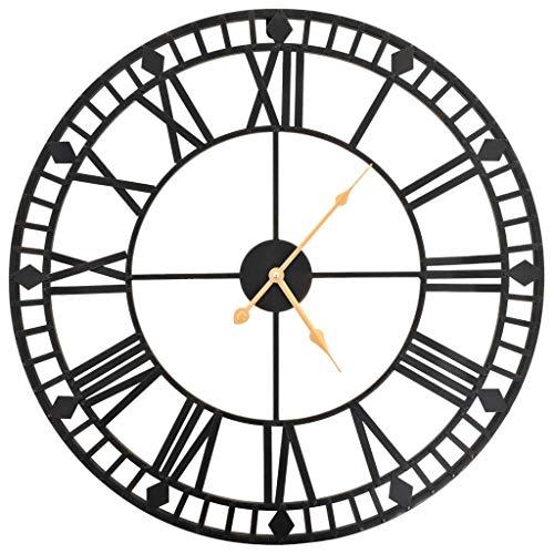 vidaXL Wanduhr Vintage Quarzwerk Metall 60 cm XXL Analog Uhr Wohnzimmer Uhr