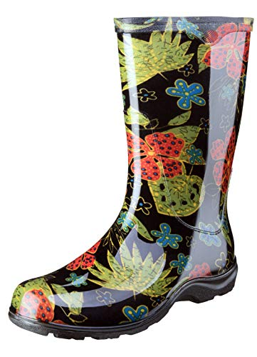 Sloggers Women's Waterproof Rain and Garden Boot with Comfort Insole, Midsummer Black, Size 8, Style