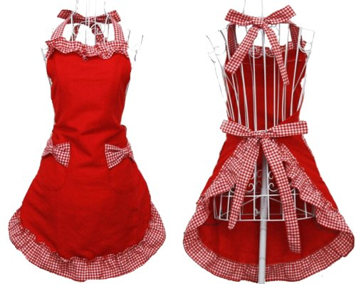 Hyzrz Cute Fashion Cotton Red Aprons for Women Girls Vintage Cooking Retro Apron with Pockets