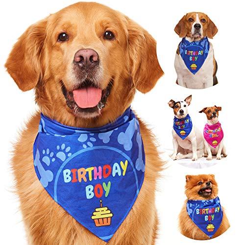 Odi Style Dog Bandana for Dog Birthday Party - Dog Birthday Bandana for Small, Medium, Large Dogs, Bandana for Dogs Puppy Birthday Party, Boy Dog Happy Birthday Bandana, Blue
