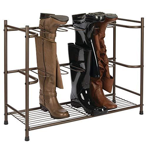 mDesign Zapatero para botas – Estante organizador de zapatos y botas altas – Mueble zapatero ahorrador de espacio para 6 pares de botas de agua, de montar o de mujer – marrón oscuro