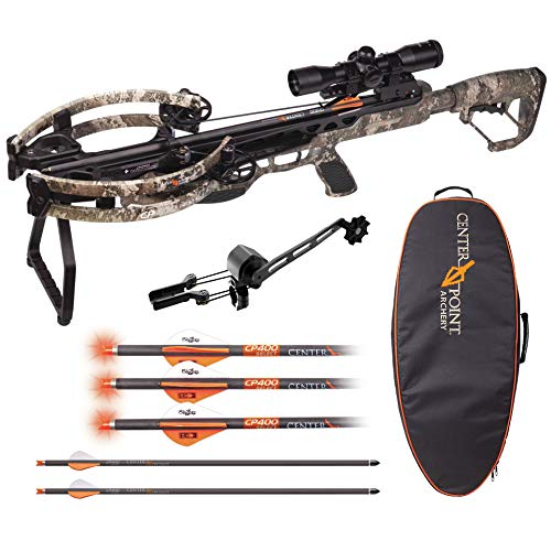 CenterPoint CP400 with Silent Crank Compound Crossbow Package – True Timber Strata Camo + Crossbow Bag and Carbon Arrows with Lighted Nock