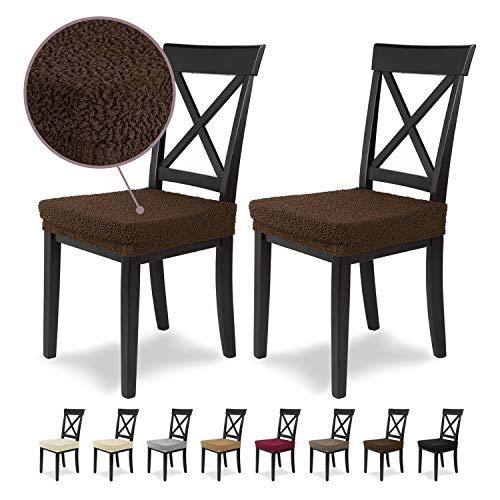 Housses de siège SCHEFFLER-Home Jacquard Lea 2 Set, élastiques Couverture Spandex, revêtement de Chaise siège, Marron