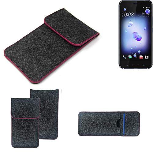 K-S-Trade Filz Schutz Hülle Für HTC U11 Dual-SIM Schutzhülle Filztasche Pouch Tasche Hülle Sleeve Handyhülle Filzhülle Dunkelgrau Rosa Rand