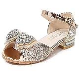 YOGLY Zapatos de Lentejuelas de Niña Zapatosde Tacón Altode Princesa Zapatos de Fiestade Niños Antideslizante Zapatos de Disfraz Boda Ceremonia Zapatos de Vestir EU23-38
