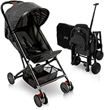 Portable Folding Lightweight Baby Stroller - Smallest Foldable Compact Stroller Airplane Travel ,Compact Storage , 5-Point Safety, Easy 1 Hand Fold, Canopy Sun Shade , Storage Bag - Jovial JPC20BK