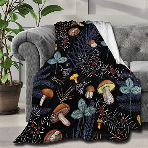 ARTIEMASTER Dark Wild Forest Mushrooms Customized Blanket Soft and Lightweight Flannel Throw Suitable for Use in Bed, Living Room and Travel 50'x40' for Kid