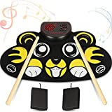 YUOIOYU Electronic Drum Set - 9 Pad Flexible Roll Up Drum Kit Practice Pad with Foot Pedals, Built in Speakers & Drum Sticks, Great Holiday Birthday Gift for Kids/Beginners